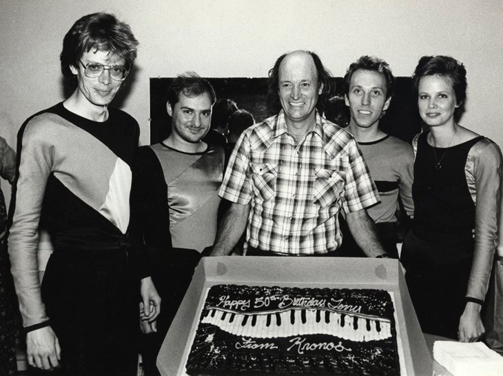 Terry Riley celebrates his 50th birthday with the Kronos Quartet in 1985. From left: David Harrington, John Sherba, Terry Riley, Hank Dutt, and Joan Jeanrenaud.