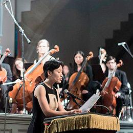 The Dream Unfinished-founder Eun Lee at a 2016 performance.